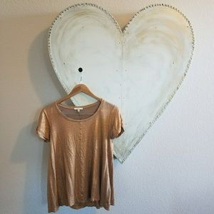 Metallic copper anthropologie tee